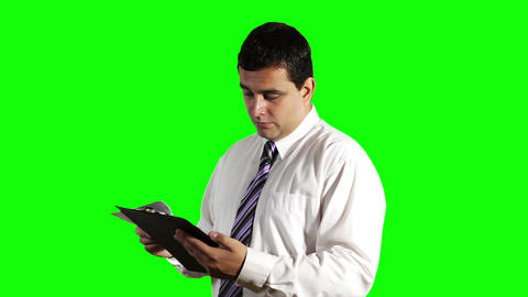Young Businessman Unhappy with Contract Greenscreen 9 Footage