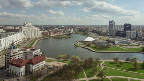 Minsk city panorama time lapse footage Footage