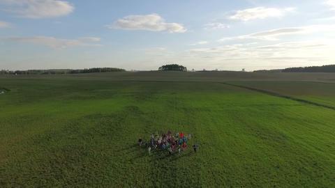 Running children aerial view Footage