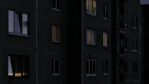 4K Time Lapse of Windows Multistory Apartment Building During Sunrise Footage