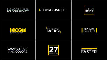 27 Elegant 4K Title Animations - After Effects Text Animation template After Effects Template