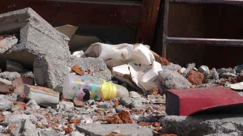 newborn items in earthquake devastated home Footage