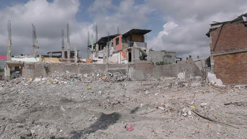 large building area leveled by the April earthquake Footage