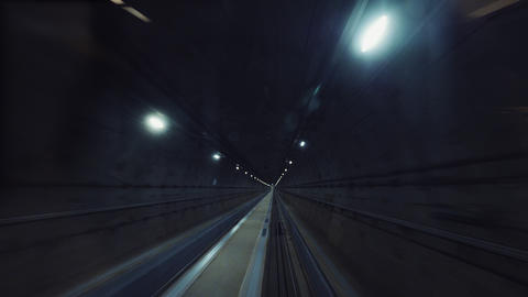 Underground train traveling in the tunnel on high-speed Live Action