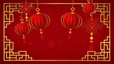 Happy chinese new year 2019 with pendants on red background looped Animation
