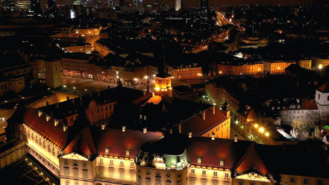 View from the height of the royal castle in the old town at night, Warsaw Footage