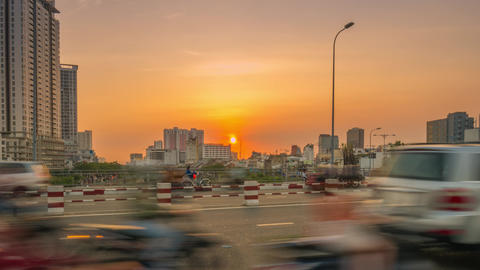 Time lapse view of Ho Chi Minh City traffic at sunset Footage