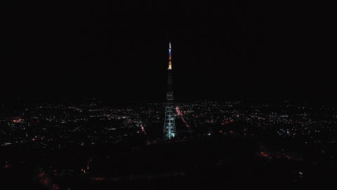 Night view of television tower in Lviv Ukraine downtown GIF