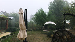 Summer Backyard in Strong Storm Footage
