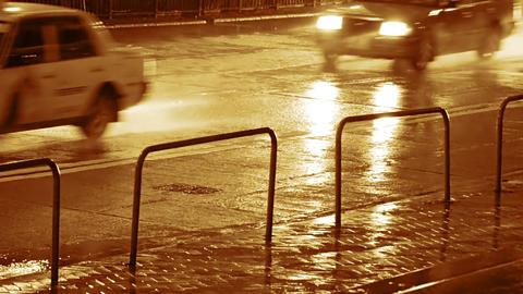 Night Rain and Car Traffic. Seamless Loop 영상물
