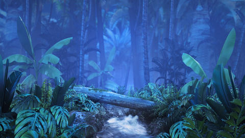 Night tropical jungle with a brook GIF