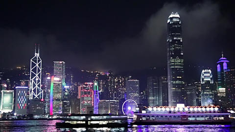 Pleasure Boats in the Night Harbor of Hong Kong Footage
