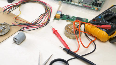 Workplace with electronic components in electronics workshop, Live Action