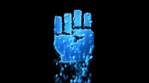 Liquid symbol fist raised appears with water droplets. Then dissolves with drops Animation