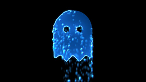 Liquid symbol ghost appears with water droplets. Then dissolves with drops of Animation