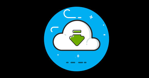 Cloud flat icon animated with alpha channel GIF