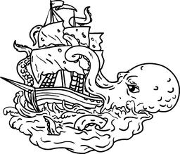 Kraken Attacking Sailing Ship Doodle Art Vector