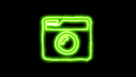 The appearance of the green neon symbol camera retro. Flicker, In - Out. Alpha Animation