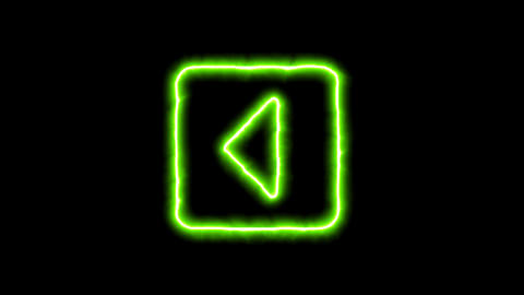 The appearance of the green neon symbol caret square left. Flicker, In - Out. Animation
