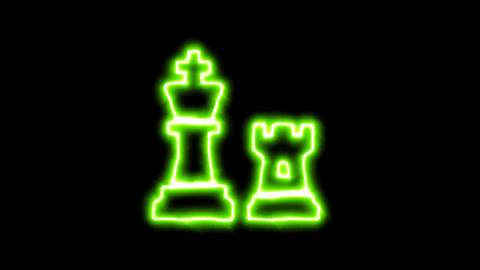 The appearance of the green neon symbol chess. Flicker, In - Out. Alpha channel Animation