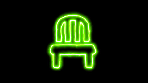 The appearance of the green neon symbol chair. Flicker, In - Out. Alpha channel Animation