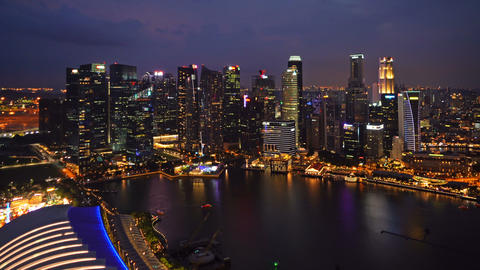 Aerial view of Downtown Singapore city in Marina Bay area. Financial district Live Action