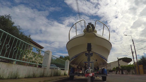 Boat Parked On The Street Footage