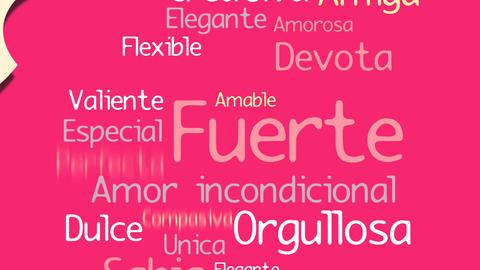 Feliz Dia de la Madre, Happy Mother's Day in Spanish language, greeting card. Animation