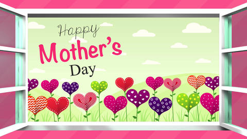 Happy Mother's Day greeting card. Field of flowers in the shape of a heart of Animation