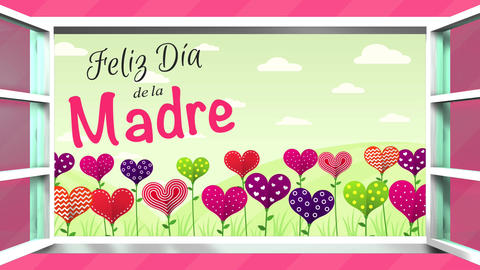 Feliz Dia de la Madre - Happy Mother's Day in Spanish language - greeting card. Animation