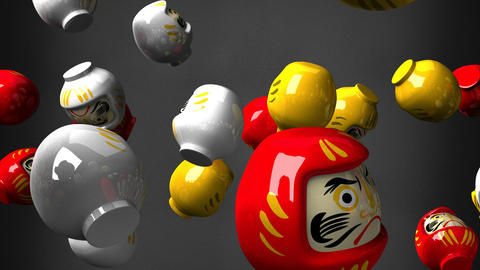 Daruma dolls on black background CG動画