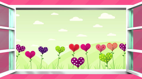 Field of flowers in the shape of a heart of different colors inside a white Animation