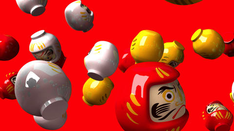 Daruma dolls on red background CG動画