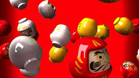 Daruma dolls on red background CG動画