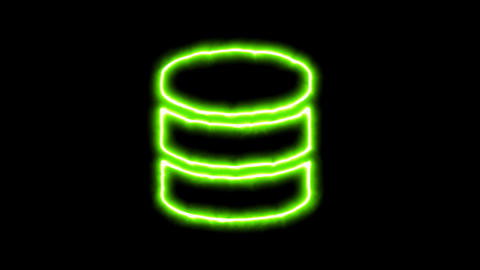 The appearance of the green neon symbol database. Flicker, In - Out. Alpha Animation