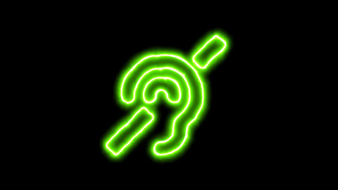 The appearance of the green neon symbol deaf. Flicker, In - Out. Alpha channel Animation