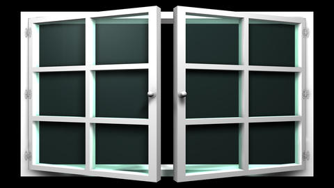 3D animation of a white window with glass front view that opens and closes. This Animation