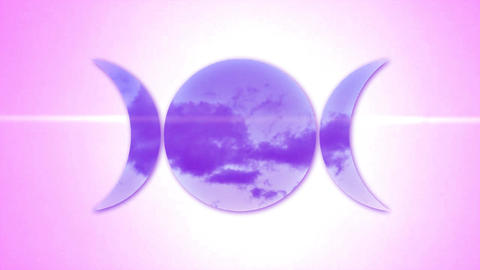 Pink Triple Moon Goddess Glitch Stock Video Footage