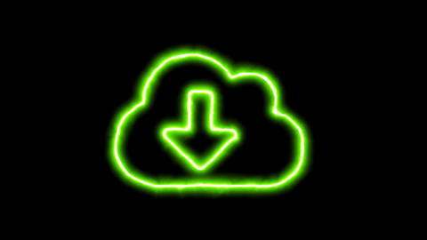 The appearance of the green neon symbol cloud download. Flicker, In - Out. Alpha CG動画