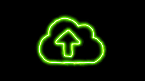 The appearance of the green neon symbol cloud upload. Flicker, In - Out. Alpha Animation