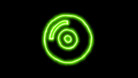 The appearance of the green neon symbol compact disc. Flicker, In - Out. Alpha Animation