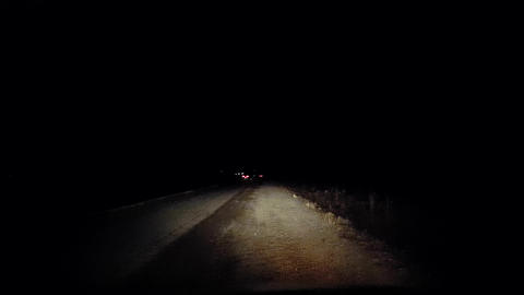 Car Stranded on Side of Road on Dark Night Country Road. Driver Point of View Live Action