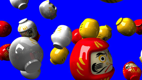 Daruma dolls on blue chroma key CG動画