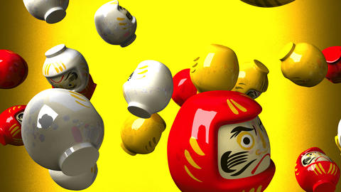 Daruma dolls on yellow background CG動画