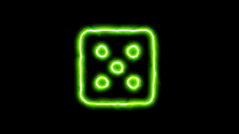 The appearance of the green neon symbol dice five. Flicker, In - Out. Alpha Animation