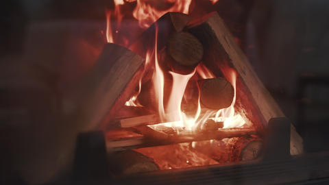 Burning Fire In The Fireplace. Slow motion. A looping clip of a fireplace with 영상물