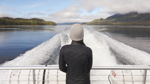 Misty Fiords Cruise boat tourist on Adventure tour in Alaska Footage