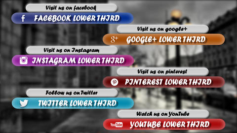 Clean Social Media Lower Third Pack After Effects Template