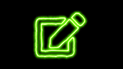 The appearance of the green neon symbol edit. Flicker, In - Out. Alpha channel Animation