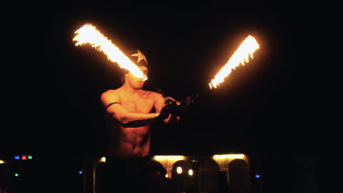 Man perfoming fire show Footage